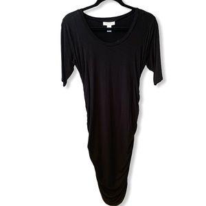 Motherhood Maternity   Black Side-Ruched Dress (S)